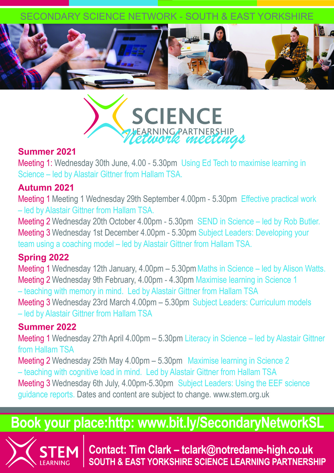 Secondary Science network dates