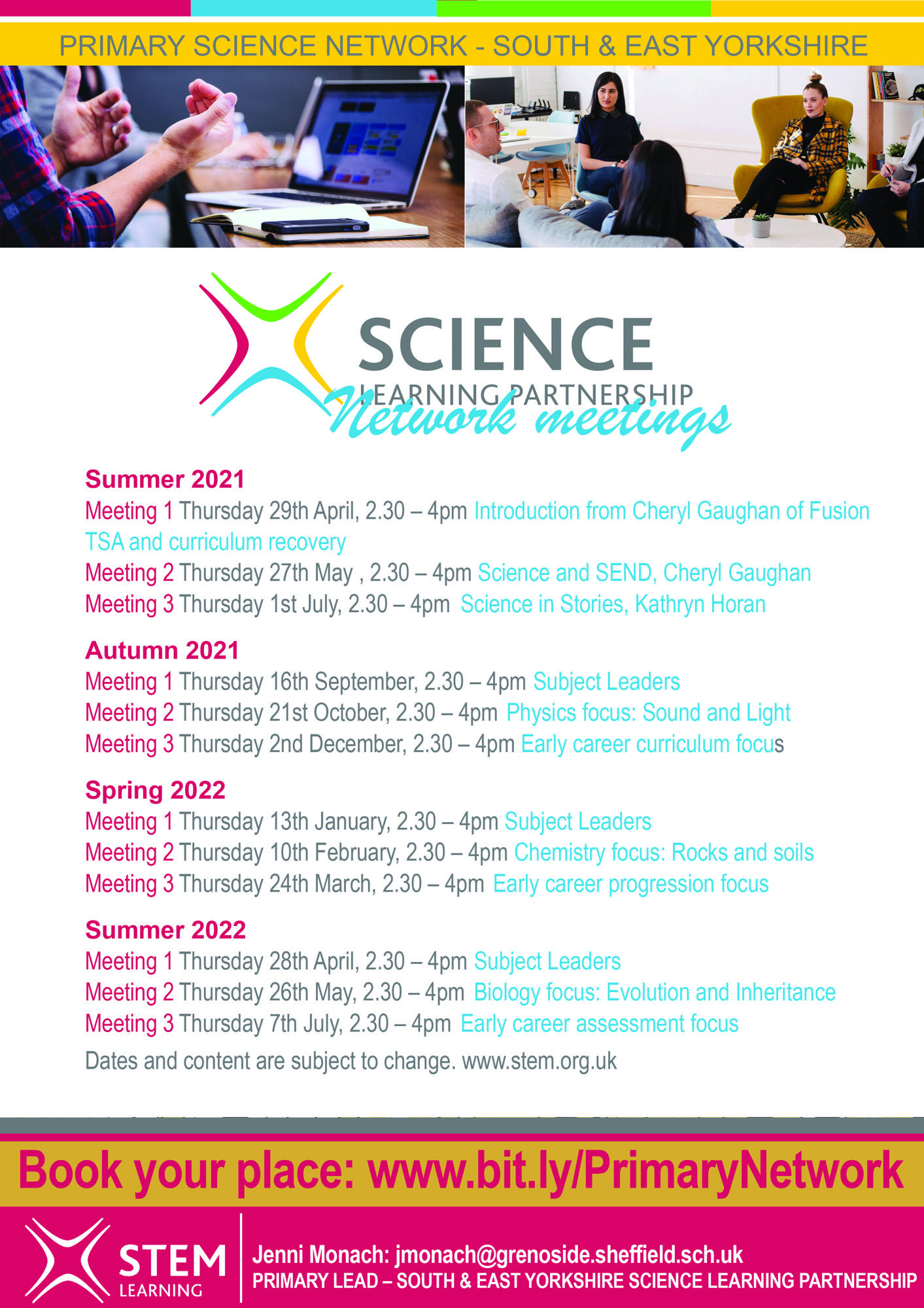 Primary Science network dates